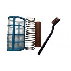 Košíček, pružina, měděná anoda a kartáč
