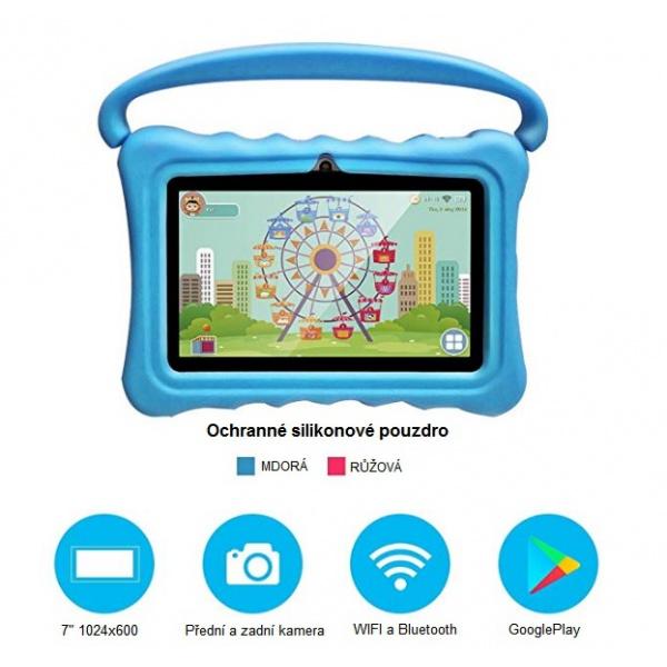 """Tablet dětský 7"""" od 3 let s ochranným pouzdrem 1G/16GB Android modrý"""