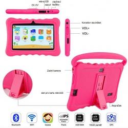 """Tablet dětský 7"""" od 3 let s ochranným pouzdrem 1G/16GB Android růžový (3)"""