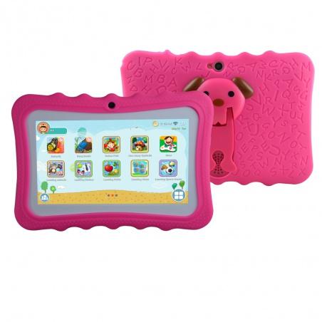 """Tablet dětský Hafik 7"""" od 3 let silikonové pouzdro 512MB/8GB Android růžový"""