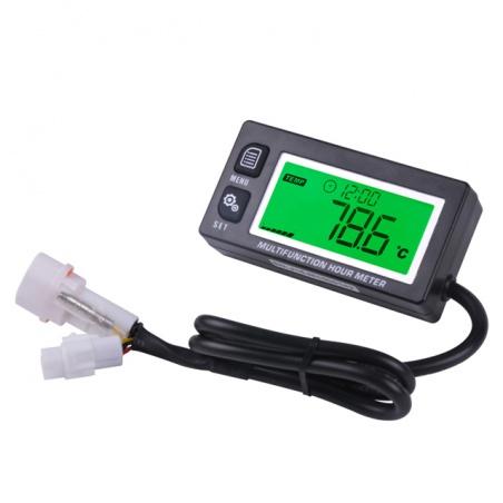 Multifunkční měřič motohodin, otáček, teploty, podsvícený, voděodolný