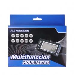 Multifunkční měřič motohodin, otáček, teploty, podsvícený, voděodolný (5)